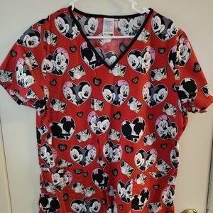 Disney Mickey & Minnie Mouse Scrub Top